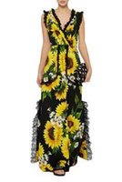 Wholesale Floral Definition - The new high-definition digital sunflower printing Siamese pants fashion loose casual wide leg pants lace gimp rompers women bodycon jumpsui