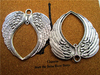 Wholesale Tibetan Silver Fairy - 10pcs--Huge Angel Wings Charms,Antique Tibetan silver Large Angels Fairy Wings Feathers Charms Pendants,necklace charms 69x73mm