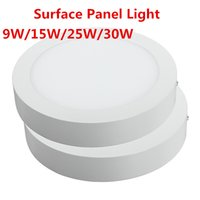 panel de montaje leds al por mayor-9W 15W 25W 30W Redondo Panel Led superficie montada leds Downlight techo abajo 85-265V lampada led lámpara con LED Driver