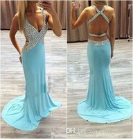 Wholesale Silk Royal Blue Robes - 2017 Sky Blue Sexy Open Back Prom Dresses Mermaid Chiffon Crystal Beaded Evening Dress Deep V Neck Formal Party Gowns New Robe De Soiree