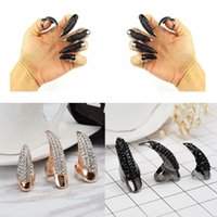 Wholesale Punk Cosplay - Punk Style Crystal Rhinestone Paved Paw Bend Fingertip Finger Claw Ring Set Fake False Nails Set Halloween Cosplay Accessories C50L