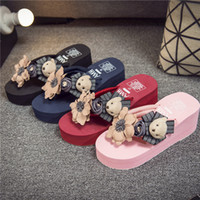 Wholesale Mixed Cartoon Slippers - Hot sell summer Women slippers sandals Cartoon slippers unisex casual shoes print mixed colors flip flop size 35-42