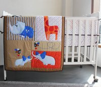 Wholesale Cartoons Boys Crib Bedding Set - New 7 pcs baby bedding set baby boy and girl crib bedding set cartoon animal baby crib set Quilt Bumper Sheet Skirt