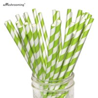 Wholesale Vintage Retro Paper Straw - Wholesale-25 Apple Green Paper Straws Striped Retro Vintage Style Carnival Circus Wedding Birthday Bridal Baby Shower Ready to Ship