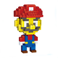 Wholesale Hat Model Child - Building Blocks Red Hat Super Mario Toy DIY Assembly model High Quality For Children Gift Assembling Bricks