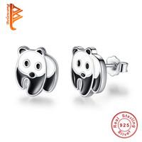 Wholesale Chinese 925 Animals - BELAWANG 2017 Genuine 925 Sterling Silver Cute Panda Stud Earrings for Women Girls Black White Enamel Earring Jewelry Gift Chinese Style