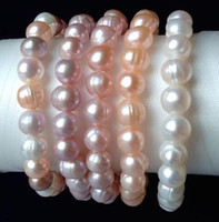 Wholesale True Pearls - Authentic natural pearl bracelet Nearly round true purple beads powder white mix color fresh bright light female gifts