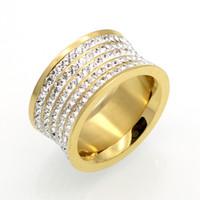 platin düğün bandosu toptan satış-Titanyum Paslanmaz Çelik 5 Satırlar Rhinestone Yüzükler, 18 K Altın / Platin Kaplama Kadınlar / Erkekler Düğün Band Lüks Takı