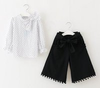 Wholesale Cute Wholesale Collared Shirts - 2017 Summer New Girls Sets Polka Dot Cotton Long Sleeve Shirt+Pom Pom Wide Leg Pants Outfits Children Clothes 4-9Y 71732