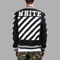 Wholesale Black Winter Cardigans - OFF-WHITE Black Varsity Jacket For Men Classic Striped Logo Print Baseball Jersey Jackets Winter Embroidery Cardigan Hood Coat CYG0417