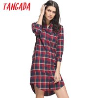 Wholesale Button Down Shirts For Women - Wholesale- Tangada Autumn Fashion Red Plaid Cotton Shirt Dresses For Women Turn Down Collar Pocket Casual Brand Vestidos Femininos QB02
