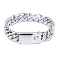 Wholesale Titanium Rings Singapore - Pure Titanium Jewelry Men Fashion Curb Cuban Link Chain Bracelets High Polished Wristbands Bangle Pulseras Brace lace 20cm & 22cm*1.2cm