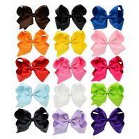 Wholesale Fashion Hair Colors - 15 Colors 6 Inch Fashion Baby Ribbon Bow Hairpin Clips Girls Large Bowknot Barrette Kids Hair Boutique Bows Children Hair Accessories KFJ102