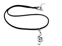 ingrosso ciondolo simbolo musicale-5PCS-Simple Music Note Necklace Music Notation Tema Collana pendente Simbolo musicale Treble Clef Leather Rope Collane