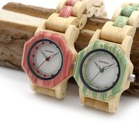 Wholesale Ladies Wooden - BOBO BIRD O11 O12 Bling Scale Dial Women Bamboo Watches Top Brand Luxury Designer for Ladies in Wooden Box