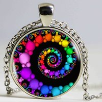 Wholesale Crystal Swirls - FIBONACCI Spiral Pendant fractal necklaces pendants flourish swirls glass dome necklace sacred geometry art picture jewelry