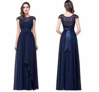 Wholesale Lace Bow Belt Sleeveless - Dark Navy Cheap Bridesmaid Dresses A Line 2017 Hot Lace Chiffon Long Maid of Honor Gowns with Bow Belt Wedding Guests Wear CPS210