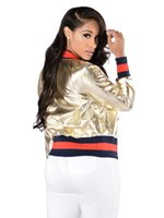 Wholesale Leather Outfits For Women - Autumn winter Girls Fashion Style PU Jacket women golden color baseball uniform short leather jacket outfit for youth girl star singer dance