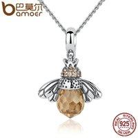 оранжевые животные оптовых-Pandora стерлингового серебра 925 прекрасный оранжевый пчелы животных подвески Ожерелье для женщин ювелирные изделия оптом