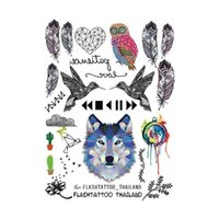 Wholesale wholesale temporary tattoo paper - Wholesale- Taty Large Temporary Tattoos Body Art Men Women Fashio Owl Tattoo Colored Paper Feathers Wolf Tattoo Sticker Wholesale