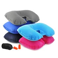 Vente en gros - 3Pcs Car Flight Travel Coussin gonflable Coussin U Oreiller Eyeshade Earplugs