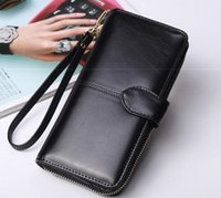 Wholesale Tri Fold Long Wallet - hot sell womens's multi-functional clip wallet long leather purse wallet tri fold wallet wholesale and retail