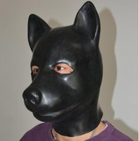 Wholesale Dog Slave - (LS02)Fetish Latex full head latex pig dog cat leopard wolf horse animal head slave mask rubber hood SM Hood suffocate Mask
