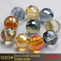 Wholesale Disco Ball Bracelet Flags - High Quality Promised DIY Bracelet Making Crystal Glass Disco Ball Beads 10mm Plated Colors A5003 72pcs set