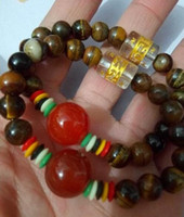 Wholesale Tiger Jade Bracelet - Free shipping Natural tiger eye stone agate beads bracelet