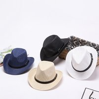 Wholesale Ladies Straw Fedora - Wholesale Lady Men Sun Caps Ribbon Round Flat Top Straw Fedora Panama Hat Beach Summer Hats for Women Straw Hat Snapback Gorras