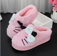 Wholesale fluffy animal slippers - Female winter sweet thick bottom fluffy slippers comfortable and warm indoor antiskid cartoon slippers at home