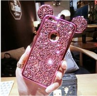 Wholesale 2017 New Colorful Glitter Powder Cover With Logo Hole For iPhone i7 plus Case Cartoon Mickey Mouse Ears Sparkling Coque Capa i6 S DHL