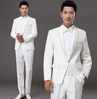 мужской белый костюм с бриллиантами оптовых-Белое корейское алмазное женатое вечернее платье, комплект мужских костюмов, жених, жених, мужской костюм, последние модели брюк, мужские костюмы + брюки + галстук