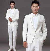 Wholesale Korean Marry Dress - White korean diamond married formal dress set mens suits wedding groom men suit latest coat pant designs mens suits + pant + tie