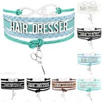 Wholesale Men Hair Jewelry - Infinity Love Hair Stylist Dresser Scissors Charms Best Gifts Bracelets For Women Men Red Black Silver Wrap Bracelet Jewelry