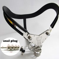 Wholesale Steel Chastity Belt Anal - Stainless steel man chastity belt arc waist with anal plug new penis cage chastity device cock cage male bondage sex toy