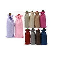 Wholesale Wine Paper Gift Bag - Linen Red Wine Bag Drawstring Bags Fancy Carrier Present Gift Single Bottle Jute Wine Pouches Party Decor OOA2733