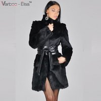 Wholesale Thick Leather Belts - VARBOO_ELSA Women Winter Long Sleeve Faux Rabbit Fur Leather Thick Jacket Coat Outerwear leather mink fur coat Long Sheep Jacket