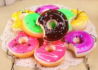 Wholesale Donut Mobile - 20pcs Lots Mobile Phone Straps Squishy Cute Soft Bread Donut Phone Keychain for Phone Decor Kawaii Cute Strap Kid Present