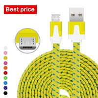 Wholesale Wholesaler Price Noodles - Best Price 1M 3Ft 2M 6Ft 3M 10Ft Nylon Braid Flat Noodle Type C Micro USB Data Sync Charger Cable Cord Wire Leads