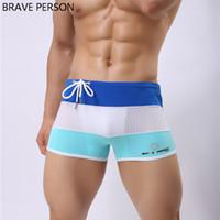 Wholesale Boxer Person - Wholesale- BRAVE PERSON Brand Gay Men Swimwear Sexy Swimming Trunks Sunga Swimsuit Plus Size Swim Shorts Bathing Patchwork 2017 Boxer Bulge