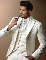 Wholesale 3pcs Tuxedo - Wholesale- 2017 Custom made three pieces groom tuxedos real picture wedding suits for men Groom Groomsmen Tuxedos mens wedding suits 3Pcs