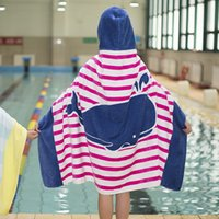 Wholesale Bath Robes Children - Cartoon Shark Kids Baby Hooded Bath Towel Children Bathrobe with hood Mermaid Kids Hoodies Towel Robe 76*127cm toalha de banho