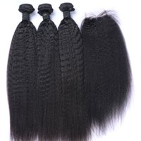 afro örgü 1b toptan satış-Afro Kinky Düz Brezilyalı Saç Demetleri Ile Kapatma İnsan Saç Örgüleri Kapatma 4x4 Ücretsiz Bölüm Doğal Renk 1B Siyah