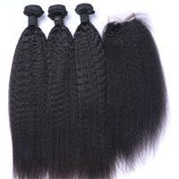 tejido afro 1b al por mayor-Afro Kinky Rectos paquetes de cabello brasileño con cierre El cabello humano teje Cierre 4x4 Parte libre Color natural 1B Negro