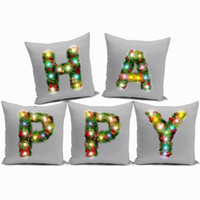 Wholesale letter cushion covers - LED Light Cushion Cover Christmas Theme Letters Pillowslip Comfortable For Bedroom Decor Pillow Case 10 7yf C R