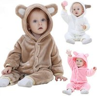 Wholesale Baby Teddy Bear Clothes - 0-24 months Baby clothes INS explosion children's clothe autumn flannel teddy bear animal modeling climbing clothes baby conjoined clothes