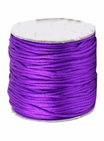 Wholesale Macrame Shamballa - Free Shipping 1.5mm Purple Rattail Satin Nylon Cord Chinese Knot Beading Cord+Macrame Rope Shamballa Bracelet Cords Accessories 80m roll