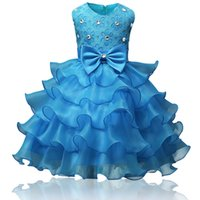 Wholesale Tulle Calf Length Wedding Dress - kids girl's lace bow dress infant girls outfits children wedding flower girl dresses rhinestone studded gowns birthday pageant girls clothes