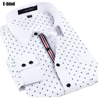 Wholesale Bound Breast - Wholesale- E-bind YHxx High Quality Mens Polka Dot designer Shirts Long Sleeves Causal Floral Print Social Dress Shirts Slim fit Mens Shirt